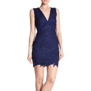 Just Me Large Navy Blue Sleeveless Lace Dress